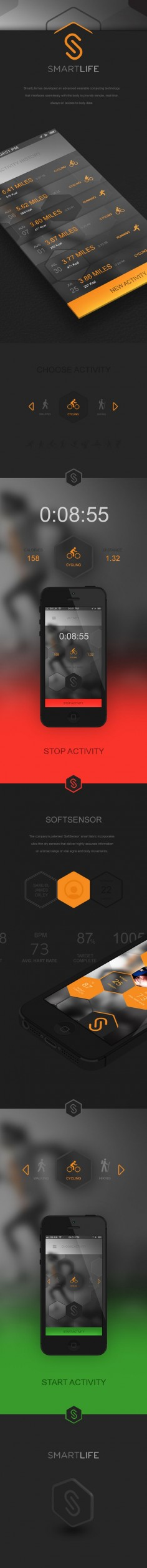 SmartLife Sports App by Samuel James Oxley, via Behance