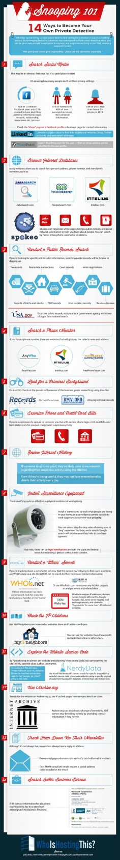 Snooping 101: How To Become Your Own Private Detective - infographic #ecommerce /