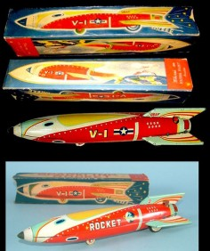 Space Rockets - SPARKLING ROCKET V-1 - MASUDAYA - JAPAN - ALPHADROME ROBOT AND SPACE TOY DATABASE