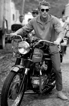 Steve McQueen and his Triumph Bonneville. Yup, they don't make 'em like they used