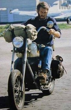 "Steve McQueen riding his rat Indian chopper, the m/c he loved all the way up until the end! He named it ""The Blob"", after one of his first movies."