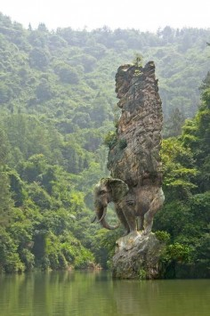 Stunning Elephant Rock sculpture, India