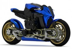 Subaru boxer diesel motorcycle with all-wheel-drive and hub center steering. Too bad its just a concept
