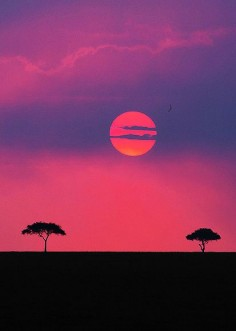 Sunset over the Maasai Mara game reserve, Kenya