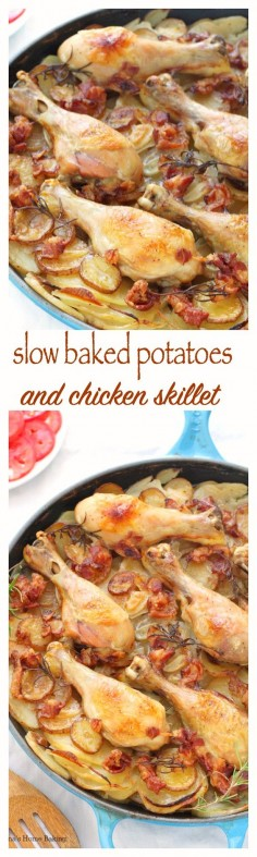 Tender chicken drumsticks cooked on top of layers of thin sliced potatoes and onions make this potatoes and chicken skillet an mouthwatering, flavorful meal.