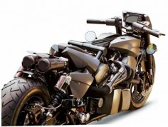 The German Motorcycle Authority has a bike in its arsenal that makes you go 'wow'. Low, long and very mean looking, the Twin Trax seems to be a cross between a cruiser and something more sporty, so long that you could virtually lie flat. This offering from the custom makers is powerful too, featuring two 80 hp  Harley Davidson S Evolution engines.