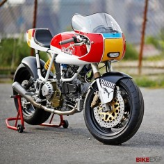 The German sportswear company Puma has commissioned one of America's top custom motorcycle builders to create this fast, colorful Ducati 900 SS custom.