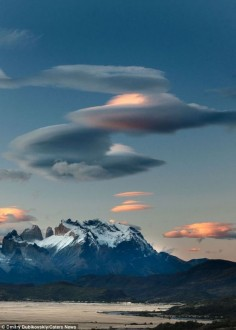 The Lenticular cloud formations were snapped in the skies over Chile's Torres Del Paine National Park