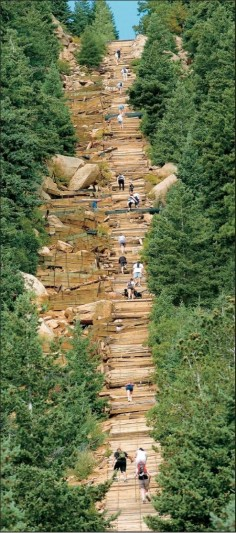 The Manitou Incline in Colorado- vertical wonder that gains 2,000 feet in elevation in less than a mile.