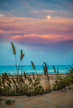 The Moon And The Sunset At South Padre Island Photograph by Micah Goff