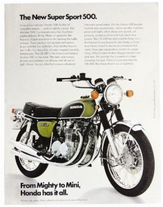 """The thinking man's motorcycle."" That was Cycle magazine's take on Honda's half-liter four, the Honda CB500 Four. Smaller and lighter than its famous big brother, the trend-setting Honda CB750 Four, the new for 1971 Honda CB500 Four took all the 750's fine attributes and focused them into a smaller, lighter bike that in many ways was better than its much-lauded forbearer. (Motorcycle Classics November/December 2008. Read more at )"