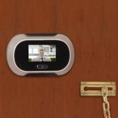 """The ultimate peep hole! Lens provides a wide 96º view using same image sensor used by digital cameras. Image displayed on 2 1/2"""" screen."""