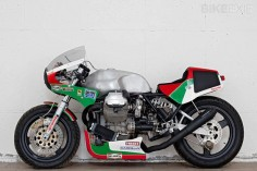 There's a very interesting idea behind this brutal-looking Moto Guzzi Le Mans custom, described by builder Davide Caforio as having a 'false history.' It's a tribute to the endurance racers of the 1980s—a bike that the Italian factory might have built if it was competing against the Cooley and Crosby Suzukis, or Wayne Gardner's Honda. It's one of our Top 5 Moto Guzzi Le Mans picks—see the others at