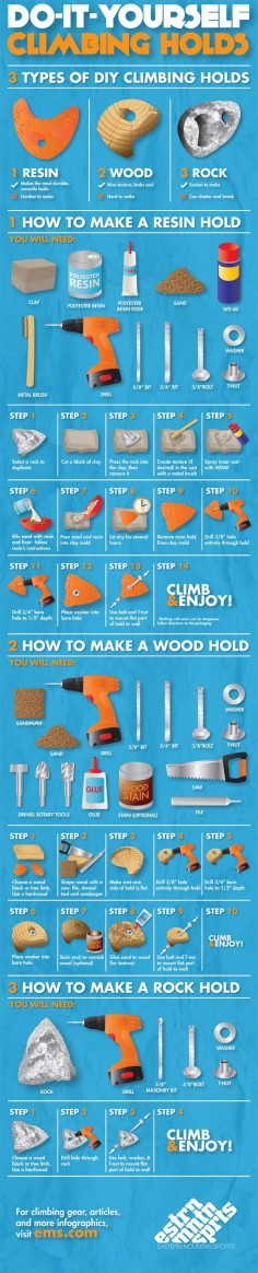 There's no better way to add an awesome personal touch than Do It Yourself climbing holds. Learn more from our How To Make Climbing Wall Holds infographic.