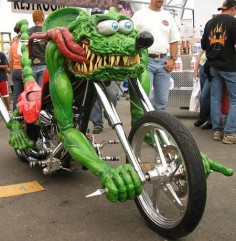This custom bike looks like of like the Rat Fink bike.  By Ed Roth