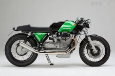 This is Kaffeemaschine #9, based on a 1978 Moto Guzzi 1000 SP. Hamburg-based Axel Budde has stripped the bike back to the essentials and rebuilt  BikeExif