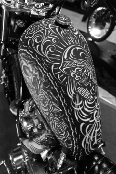 "This thing is sick! ""Good morning folks. Time to kickstart the day! Oldschool pinstripe Art. #tank #chopper"""