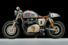 This Triumph Thruxton cafe racer is a collaboration between Sucker Punch Sally's and Fender Custom Guitars.