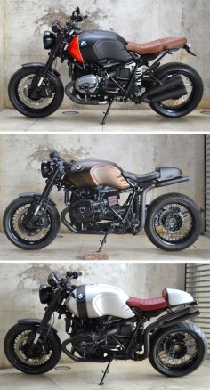 Three BMW R nineT #bmw #RnineT #custom #bike