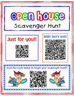 Transforming Teaching and Learning with iPads: iPad Activity: Open House Scavenger Hunt, an idea of how to use a QR code