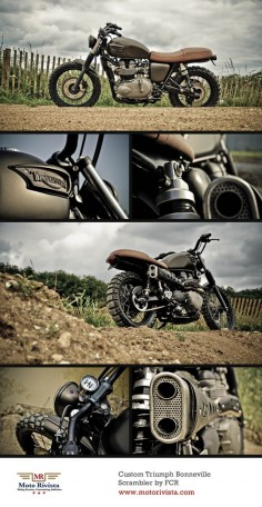 Triumph Bonneville Scrambler | Today's feature, a custom #Triumph Bonneville Scrambler. Built by French #motorcycle fabricators Sebastian Guillemot and Matthew Menard of FCR.