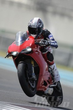 Troy Bayliss on Ducati 1199 Panigale action shot