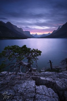 """Twilight falls at Glacier National Park's St Mary Lake."" Photo by Alex Noriega."