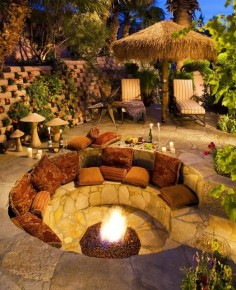 Unique Sitting Area. Garden outdoor conversation pit.
