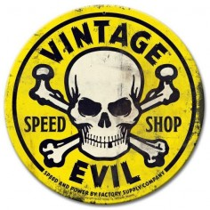 Vintage and Retro Tin Signs -  - Vintage Evil Speed Shop Round Yellow Metal Sign 14 x 14 Inches, $ ()