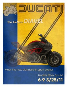 Vintage design poster for the new Ducati Diavel bike