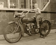 Vintage Indian Motorcycle With Little Boy Rider Photograph Old Time Indian Bike