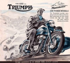 Vintage Triumph with Sidecar Ad