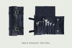 We're digging the $140 Douglas tool roll from Malle of London. In true Malle fashion it's a fine looking piece of kit, with an oiled canvas interior and a bridle leather exterior. The layout is compact and simple—with six tool pockets, and a pouch for stashing odds and ends. The hardware is solid brass, and the straps can be used to attach it to your bike. Plus it's laid out in such a way that you can open it while still attached…neat.