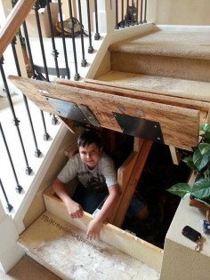 What a great idea for a safe place to hide in case of intruders. You could even set it up so you could lock yourself in if needed.