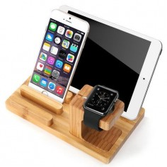 Wood Bamboo Apple Watch, Ipad and Iphone Stand Charging Dock