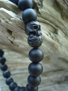 Matte Onyx Black Lava Rock Cyber Skull Stretch Beaded Bracelet #wtfbeads #Beaded