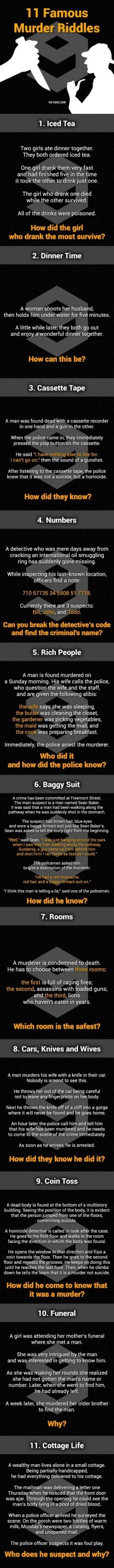 """11 Murder Mystery Riddles. Can You Solve Them All? 1. The poison was in the ice. 2. She shot her husband with a camera and then developed the photo. 3. If the man shot himself while he was recording, how did he rewind the cassette tape? 4. Bill is the suspect, if read upside down the numbers read """"Bill is boss. He sells oil."""" 5. There is no mail on Sundays. 6. How can the murderer shoot him in the stomach if he came up behind the man? 7. The room with the lions because they would have now die"""