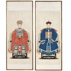 1stdibs | Pair Chinese Ancestor Portraits In Gilt Bamboo-Form Frames