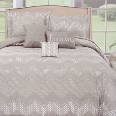 6 Piece Shovanna Chevron Metallic Print Bedding Set, Silver, King