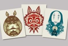 All 3 Posters - my neighbor totoro, princess mononoke, spirited away - papercut style print - ghibli, movie poster, wall art, decor