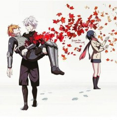 """All the best people are falling like the leaves falling in autumn."" - Touka x Hide x Kaneki - Tokyo Ghoul"
