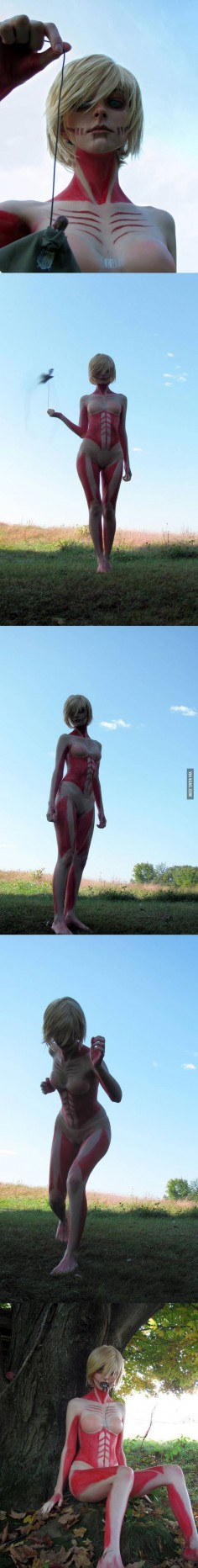 Amazing Attack on Titan cosplay.