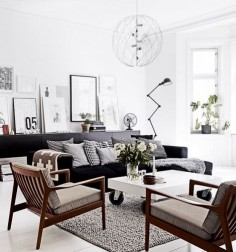 An Airy Scandinavian Interior Design for Your Neutral Living Room : Fashionable Design For White Living Room With Black Modern Sofa And Wooden Armchairs Also White Coffee Table On Wheels