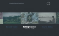 An experimental slideshow that is draggable and has two views: fullscreen and small carousel. In fullscreen view, a related content area can be viewed.