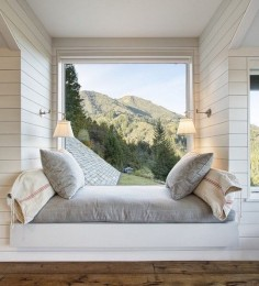 An extremely cozy reading seat overlooking a magnificent mountain view
