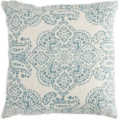 An intricate teal stamped print on a natural cotton background melds the exotic with the sensible. Our medallion pillow can be both statement and accent. Lose yourself in the inspiration it brings.