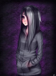 Anime, Anime Guy, Brown Eyes, Hoodie, Long Black Hair, Long White Hair.