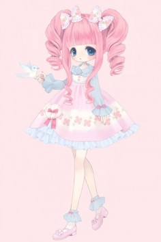✮ ANIME ART ✮ sweet lolita. . .pink hair. . .twin tails. . .pastel. . .bows. . .bird. . .cute. . .kawaii