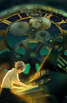Anime - boy playing piano