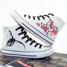 Anime Death Note Custom Hand Printed Hi Tops Canvas by CrazyPoem
